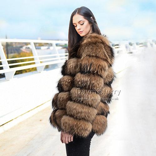 DMGA190C  Raccoon Fur Jacket / Winter Jackets, Real Fur Coat