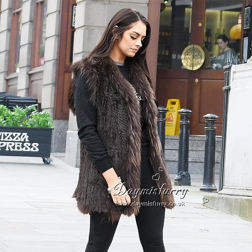 DMGB71 Knit Rabbit Fur Gilet With Raccoon Fur Trimming