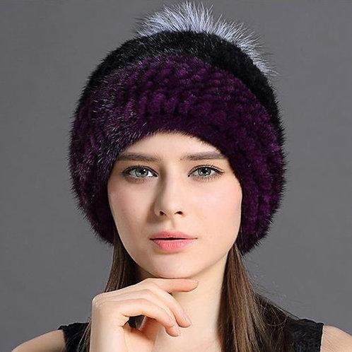 DMC235D Knit Mink Fur Beanie Hat With Fox Fur Pom