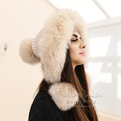 DMC247B  Cashmere Knit Hat  With  Fox Fur Ball and Trim