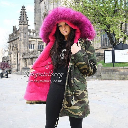 DMGP11A Dyed Faux Fur Lined Military Parka with Raccoon Fur Hood