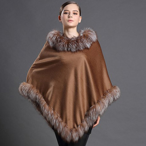 DMBP20 Cashmere Cape with Crystal Fox Fur Trim