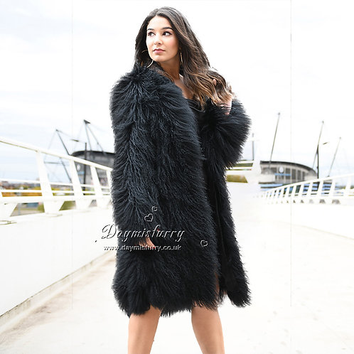 DMGA249B Mongolian Lamb Fur Long Coat