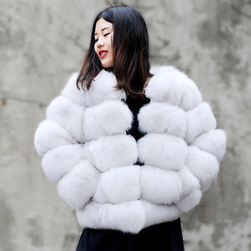 DMGA245B Extremely Luxe Natural White Fox Fur Horizontal Design Coat