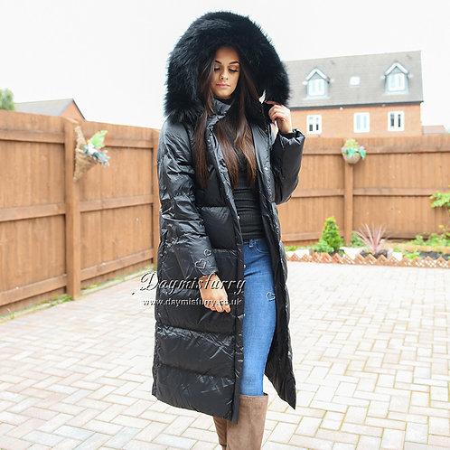 DMGD19B  Black Down Jacket With Raccoon Fur Trim