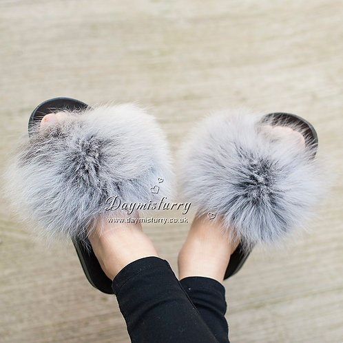 DMA82T Fox  Fur Slippers - Ashes of Roses