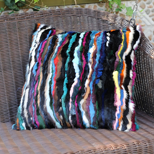 DMD15 Striped Pieced Mink Multicolor Pillow