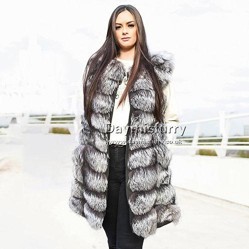 DMGB02B Silver Fox Fur Vest / Real Fox Fur Gilet