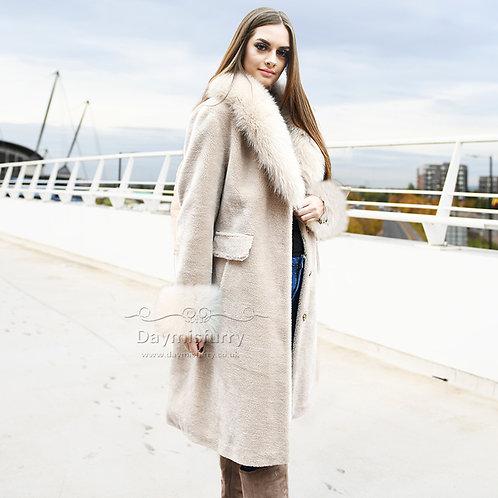 DMGT27B Fleece Coat With Fox Fur Collar and Fur Cuff