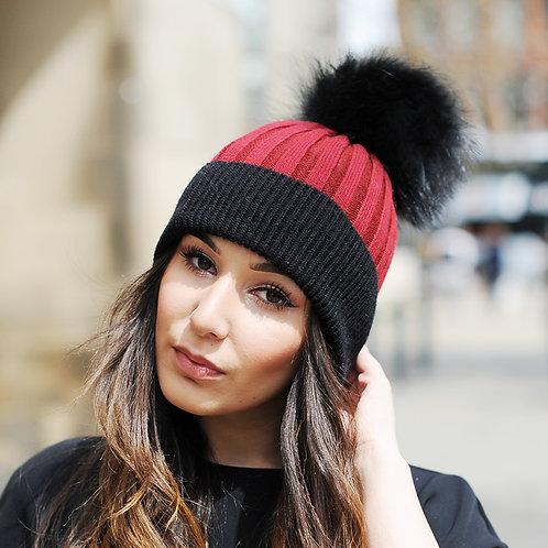 DMC45R  Wool Beanie Hat With Raccoon Fur Pom Pom