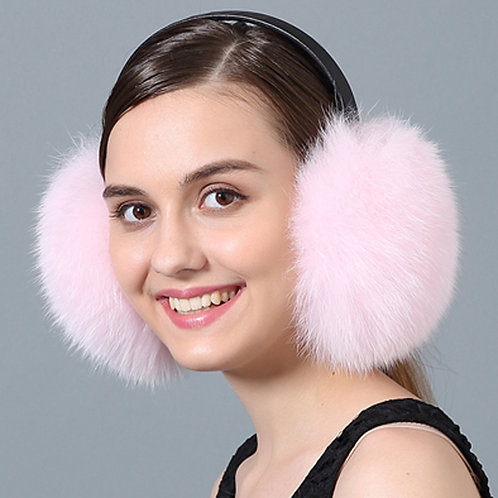 DMA73D Pink Fox Fur Earmuffs With Leather Band