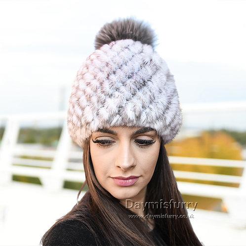 DMC206K Sunlight Mink Fur Beanie Hat With Fox Fur Pom Pom