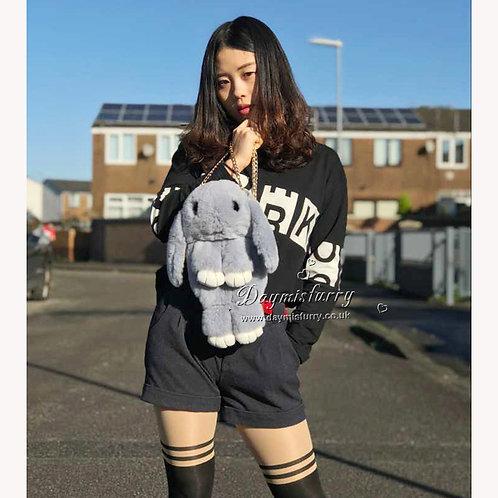 DMH15B Rex Rabbit Fur Bunny Shoulder  Bag