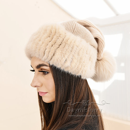 DMC249B  Wool Knit Hat  With  Fox Fur Ball and Mink Fur Trim, Christmas Hat