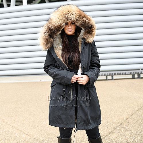 DMGP35A Rabbit Fur Coat Parka Coat with Raccoon Fur Collar