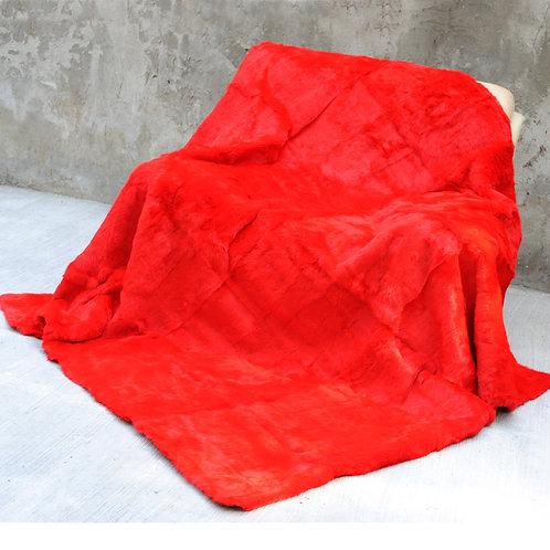 DMD08F Dyed Red Rex Rabbit Fur Blanket / Fur Throw