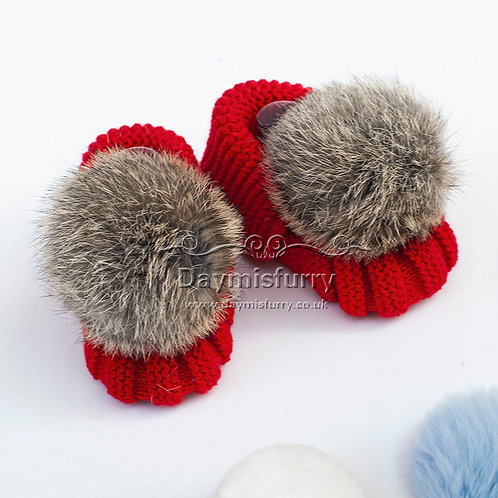 Shoes-08 Knit Baby Shoes / Newborn Socks with Rabbit Fur Ball