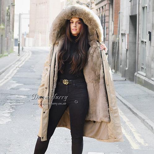DMGP34B Rabbit Fur Coat Parka Coat with Fox Fur Collar