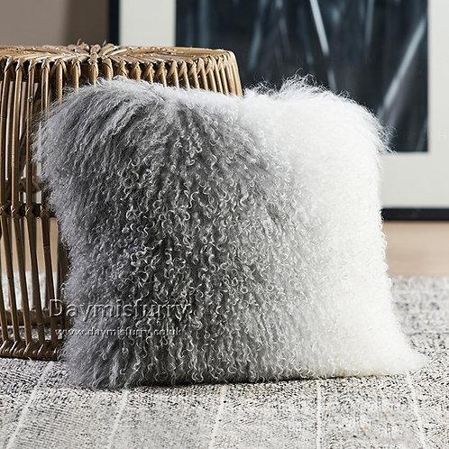 DMD57B  Mongolian Lamb Fur Throw Pillow Case   Cushion Cover 19.7 x 19.7 