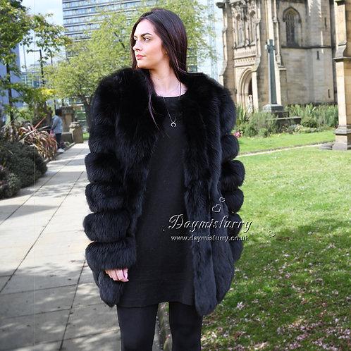 DMGA218F Luxury Vertical Stripes Fox Fur Coat in Black