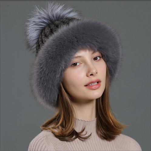 DMC93F Fox Fur Roller Mink Fur Beanie Hat With Silver Fox Fur Pom Pom