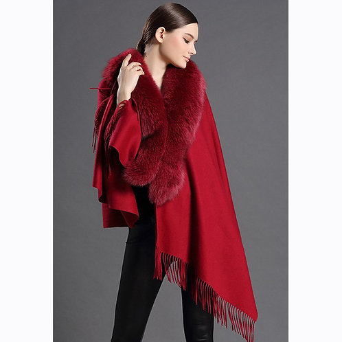 DMBP18H Red Cashmere Cape With Fox Fur Collar