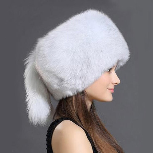 DMC169E Blue Fox Fur  Hat With Two Tails