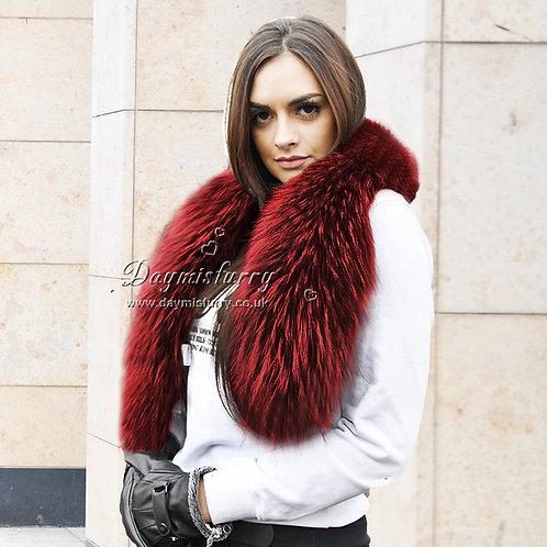 DMA17G Large Detachable  Raccoon Fur Scarf Collar