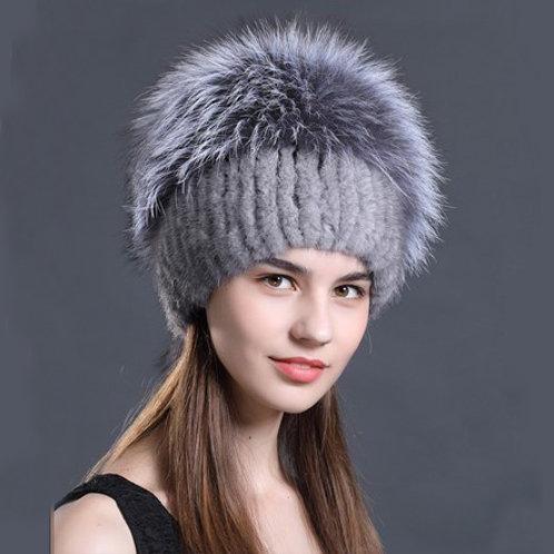 DMC57H  Mink Fur Hat With Silver Fox Fur Top