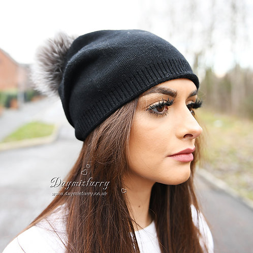 DMC49  Wool Beanie Hat With Sliver Fox Fur Pom Pom