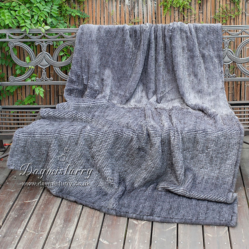 DMD80E Knit Mink Fur Throw Blanket