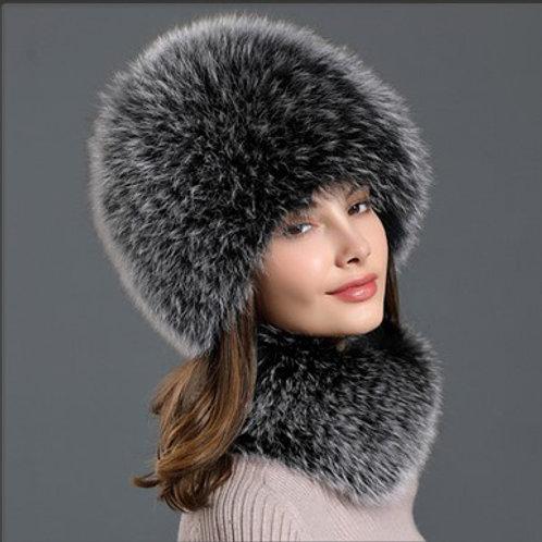 DMC01B  Fox Fur Hat Scarf Women Knit-Hat Scarf Set