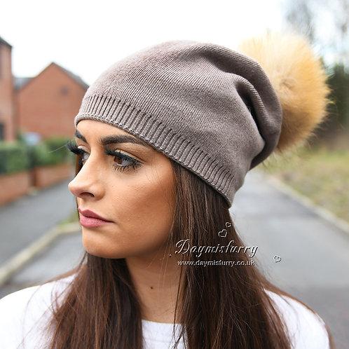 DMC49C  Wool Beanie Hat With Raccoon Fur Pom Pom
