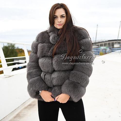 DMGA121E Extremely luxury Fox Horizontal Fur Coat