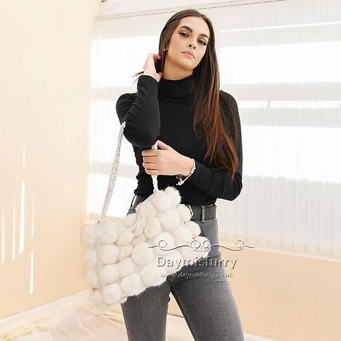 DMH11N White Rabbit Fur Pom Pom Bag, Lady Hand Bag