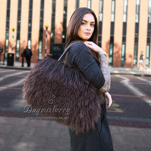 DMH24F Chocolate Brown Mongolia Lamb Fur Lady Bag