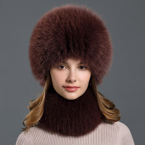 DMC01K Handmade Fox Fur Winter Scarf & Hat Set
