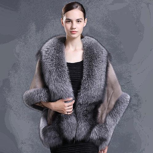 DMBM05N Vintage Mink Fur Stole with Fox Fur Trim