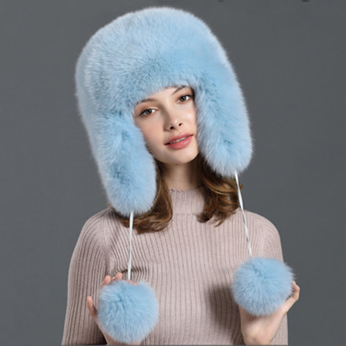 DMC132D Unisex Fox Fur Ushanka Hat / Trapper Hat / Winter Hat