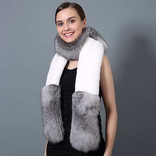 DMS36A Silver Fox Fur and Rex Rabbit Fur Scarf