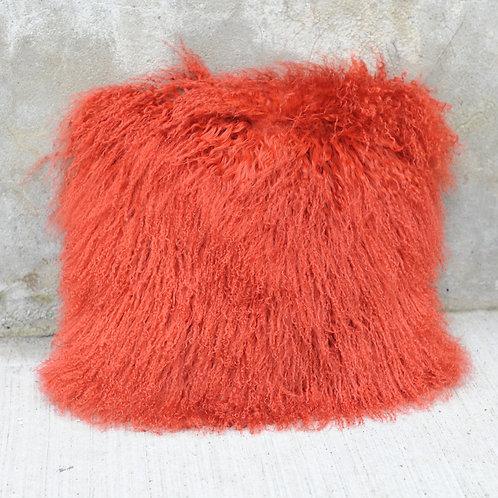 DMD04M Orange Mongolian lamb Fur Pillow Case