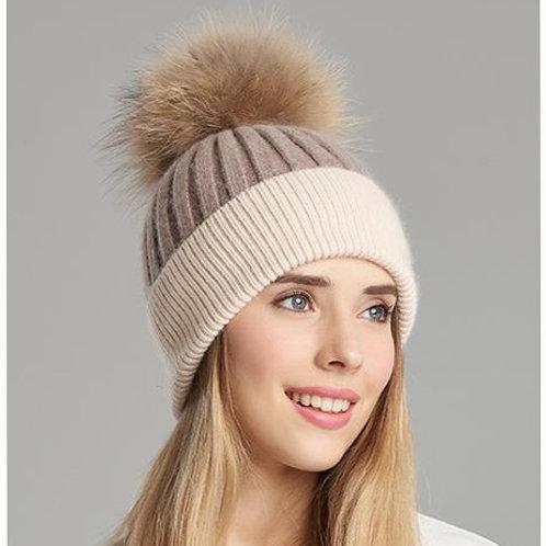 DMC45C  Wool Beanie Hat With Raccoon Pom Pom