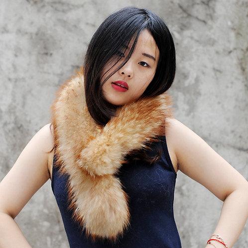 DMS25A Detachable Golden Raccoon Fur Scarf