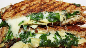 Spinach and Artichoke Parmesan Crusted Grilled Cheese