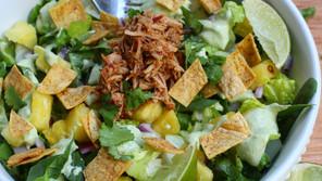 Al Pastor Taco Salad with Lime Cilantro Dressing
