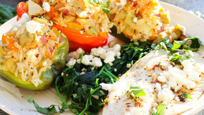 Greek Stuffed Peppers with Baked Tilapia and Spinach