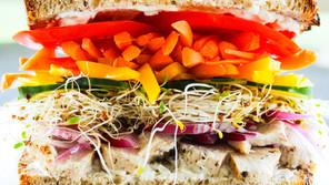 Rainbow Chicken Sandwich with Healthy Aioli
