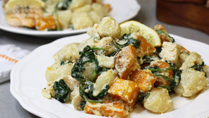 Lemon Ricotta Cauliflower Gnocchi with Roasted Butternut Squash