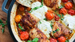 Braised Chicken Thighs with Garden Cherry Tomatoes and Burrata