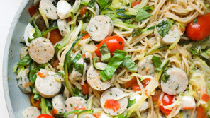 15 Minute Caprese Chicken Sausage with Spaghetti and Zoodles